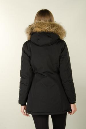 Damen Schwarz lange Echtfell Winterjacke Winter Parka Jacke mit Pelz Outdoor Echtpelz mit abnehmbarem Fell Daunenjacke Mantel  – Bild 6