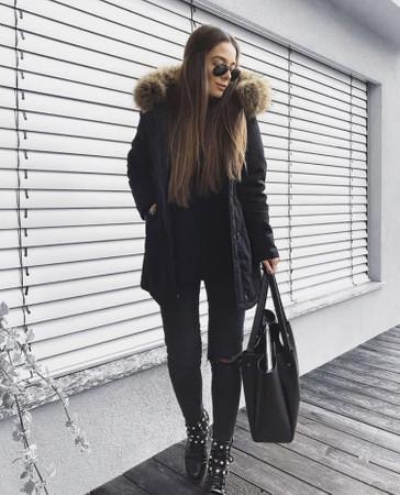 Damen Schwarz lange Echtfell Winterjacke Winter Parka Jacke mit Pelz Outdoor Echtpelz mit abnehmbarem Fell Daunenjacke Mantel  – Bild 7