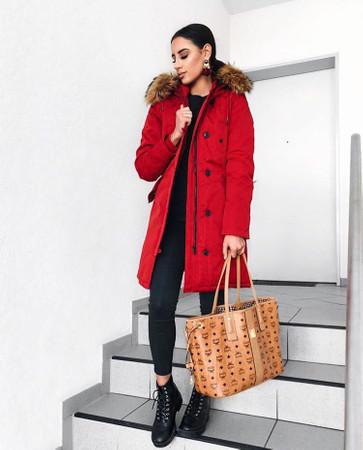 Damen Rot lange Echtfell Winterjacke Winter Parka Jacke mit abnehmbarem Fell Daunenjacke Mantel Stepp Pelz Echtpelz – Bild 1