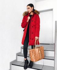Damen Rot lange Echtfell Winterjacke Winter Parka Jacke mit abnehmbarem Fell Daunenjacke Mantel Stepp Pelz Echtpelz 001