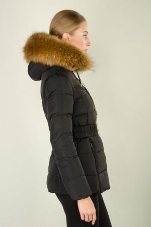 Damen Schwarz lange Echtfell Winterjacke Winter Parka Jacke mit abnehmbarem Fell Daunenjacke Mantel Stepp Pelz Echtpelz – Bild 6