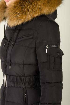 Damen Schwarz lange Echtfell Winterjacke Winter Parka Jacke mit abnehmbarem Fell Daunenjacke Mantel Stepp Pelz Echtpelz – Bild 8