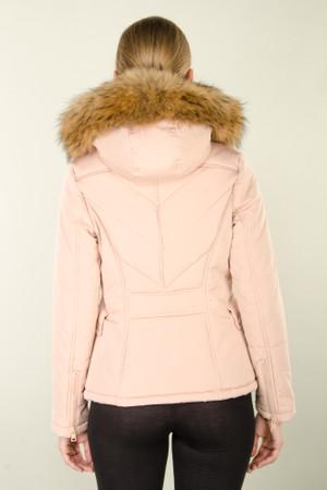 Damen kurze Echtfell Steppjacke Rosa Altrosa mit Kapuze Winter Parka Jacke mit abnehmbarem Fell Echtpelz Pelz Mantel – Bild 6