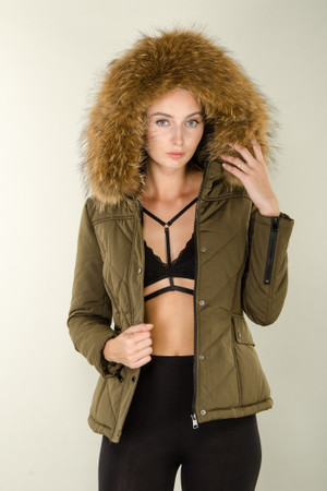 Damen kurze Echtfell Steppjacke Khaki mit Kapuze Winter Parka Jacke mit abnehmbarem Fell Echtpelz Pelz Mantel