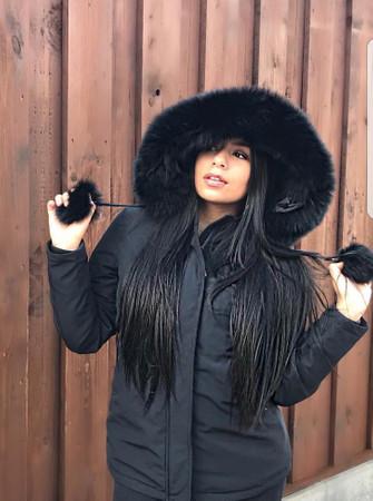 Damen lange Echtfell Winterjacke mit Bommeln Winter Parka Jacke mit Pelz Echtpelz Outdoor Steppjacke  – Bild 1