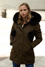 Damen lange Echtfell Winterjacke Khaki mit Bommeln Winter Parka Jacke mit Pelz Echtpelz Outdoor Rosa 001