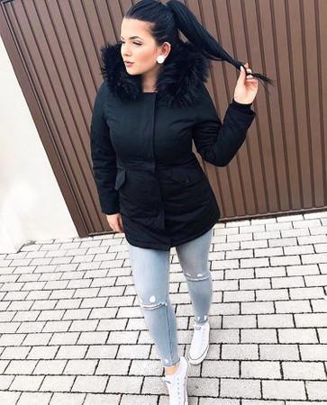 Damen Schwarz lange Kunstfell Winterjacke Winter Parka Fake Fur Jacke Outdoor mit abnehmbarem Fell Daunenjacke Mantel  – Bild 2