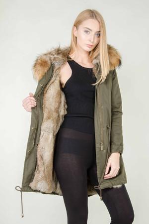 Damen Khaki langer Echtfell Parka Edelparka Winterjacke Winter Jacke mit Pelz Outdoor Echtpelz Fell Mantel  – Bild 3