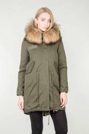 Damen Khaki langer Echtfell Parka Edelparka Winterjacke Winter Jacke mit Pelz Outdoor Echtpelz Fell Mantel  – Bild 1