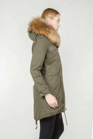 Damen Khaki langer Echtfell Parka Edelparka Winterjacke Winter Jacke mit Pelz Outdoor Echtpelz Fell Mantel  – Bild 5