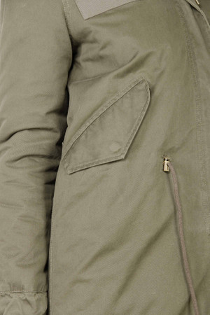 Damen Khaki langer Echtfell Parka Edelparka Winterjacke Winter Jacke mit Pelz Outdoor Echtpelz Fell Mantel  – Bild 8