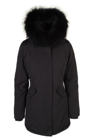 Damen Schwarz lange Echtfell Winterjacke Winter Parka Jacke mit Pelz Outdoor Echtpelz mit abnehmbarem Fell Daunenjacke Mantel  – Bild 2