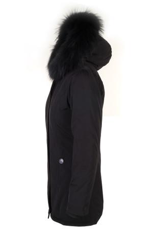 Damen Schwarz lange Echtfell Winterjacke Winter Parka Jacke mit Pelz Outdoor Echtpelz mit abnehmbarem Fell Daunenjacke Mantel  – Bild 3