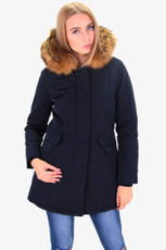 Damen Navyblau lange Echtfell Winterjacke Winter Parka Jacke mit Pelz Outdoor Echtpelz mit abnehmbarem Fell Daunenjacke Mantel  001