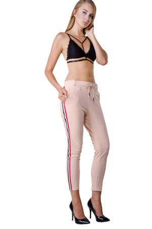 Damen Hose mit Kordelzug verschiedene Farben Damenhose Stretch Elegante High Waist Pants mit Seitenstreifen Chino Chiffon Hose – Bild 13