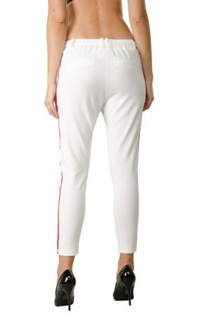 Damen Hose mit Kordelzug verschiedene Farben Damenhose Stretch Elegante High Waist Pants mit Seitenstreifen Chino Chiffon Hose – Bild 8