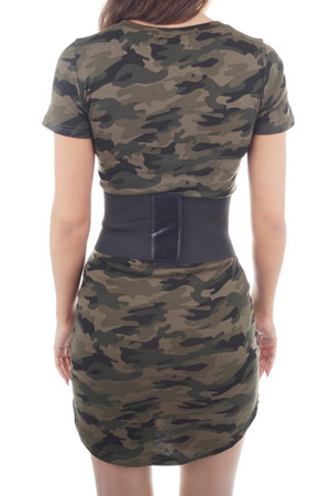 Damen Camouflage Druck Bodycon Kleid Tarnung Minikleid Tunikakleid Basic – Bild 5