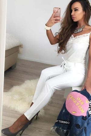 Damen elegante Hose mit Kordelzug Damenhose Stretch High Waist Damenhose  – Bild 1
