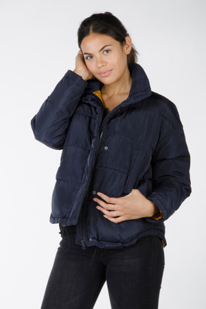 Quilted jacket with light sheen - Navy Blue
