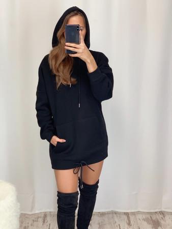 Oversized Pulloverkleid - Schwarz