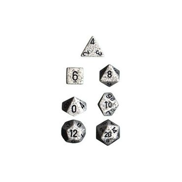 Arctic Camo Speckled Polyhedral 7-Die Sets with black