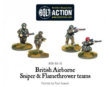British Airborne Flamethrower and Sniper Teams 28mm