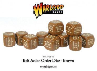 Bolt Action Order Dice - Brown (12)