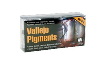 Vallejo Pigments Set 4 - Snow, Soot, Ashes, Industrial Grime (Gesamt 120ml)