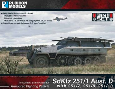 Sd.Kfz. 251/1 Ausf D 3-in-1 Set 1 1/56 28mm