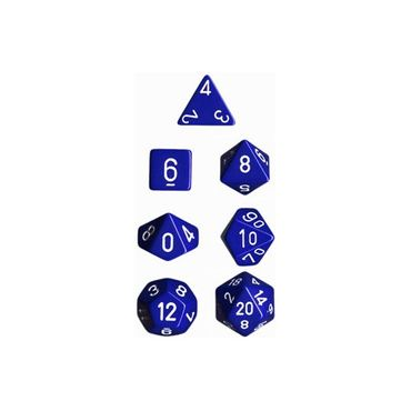 Opaque Polyhedral 7-Die Sets Blue/White