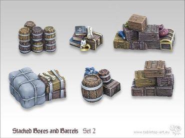 Kleine Kisten und Fässerstapel Set 2 (6)