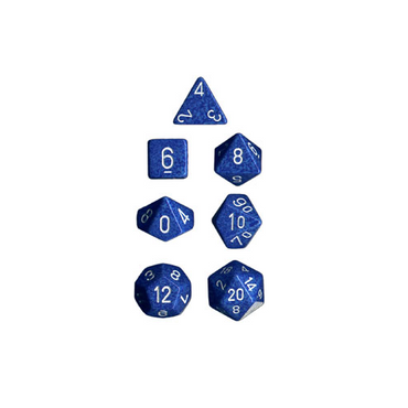 Water Speckled Polyhedral 7-Die Sets with white