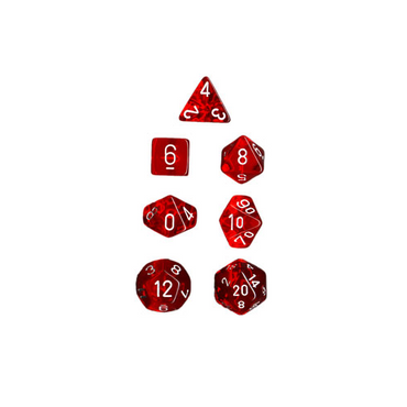 Translucent Polyhedral 7-Die Sets Red with white