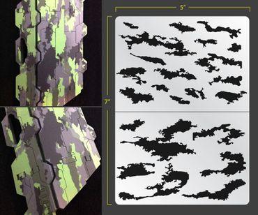 Stripe Camo Airbrush Stencil (Camouflage)