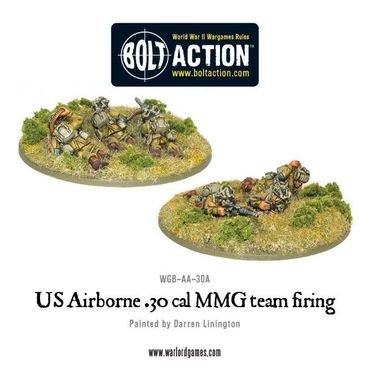 US Airborne 30 Cal MMG Team Firing 28mm