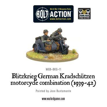 Blitzkreig German Kradschutzen Motorcycle Combination 28mm