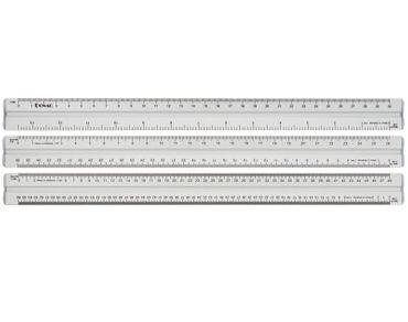 Alu Maßstabslineal 300mm mit 6 Maßstäben – Bild 2