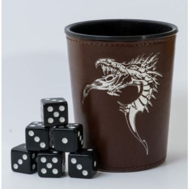 Blackfire Dice Cup with Dragon Emblem Brown (6)