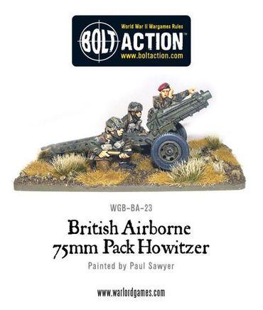 British Airborne 75mm Howitzer and Crew 28mm