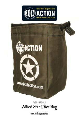 Bolt Action Allied Star Army Dice Bag and Green Order Dice (12)