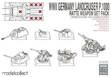 Modelcollect WWII Germany Landcruiser p.1000 Ratte Weapon Set Pack 1/72