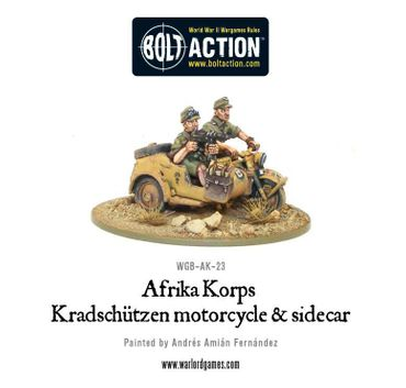 Afrika Korps Kradschutzen Motorcycle and Sidecar 28mm