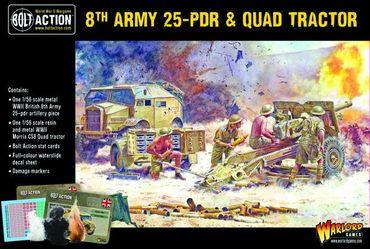British 8th Army 25 pounder Light Artillery, Quad and Limber 28mm – Bild 1