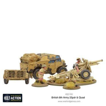 British 8th Army 25 pounder Light Artillery, Quad and Limber 28mm – Bild 4