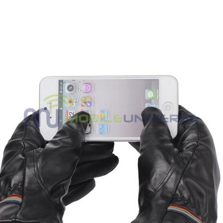 Touchscreenfähige Lederhandschuhe mit farbigen Streifen (schwarz)