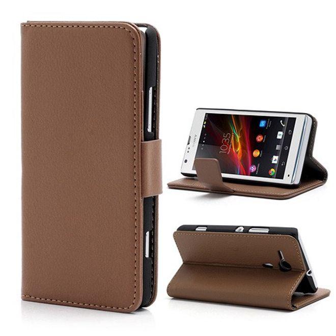 Sony Xperia SP Leder Case mit Standfunktion und Litchimuster - braun
