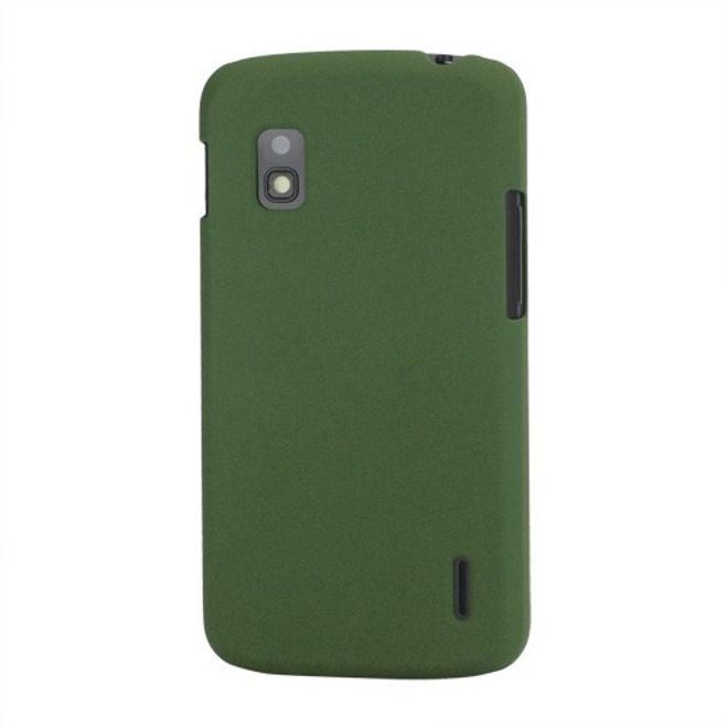 LG Google Nexus 4 Plastik Case mit edlem sandartigen Bezug - grün