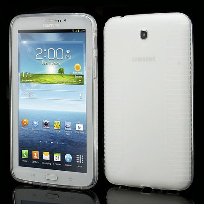 Samsung Galaxy Tab 3 7.0 Anti-Rutsch und elastisches Plastik Case - weiss/transparent