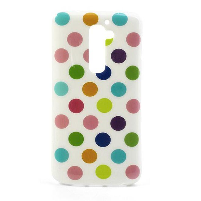LG Optimus G2 Elastisches Plastik Case mit farbigen Punkten - weisser Hintergrund
