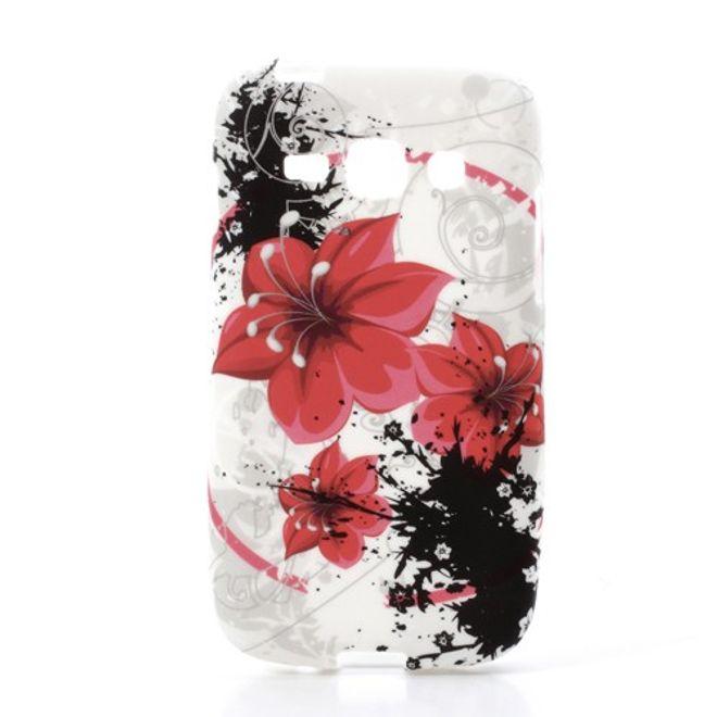 Samsung Galaxy Ace 3 Elastisches Plastik Case mit roten Blumen